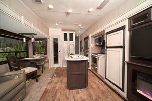 5th Wheel Trailer living and kitchen area