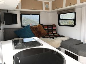 Teardrop Trailer Lounge, Cook, Sleep